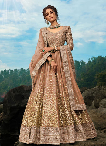 Opulence Gold Brown Wedding Reception Lehenga Net SD060 - Siya Fashions