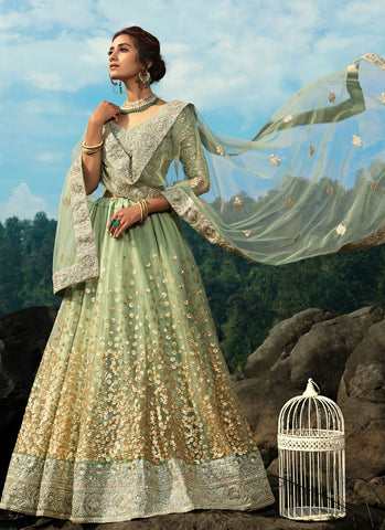Opulence Pastel Green Wedding Reception Lehenga Net SD059 - Siya Fashions