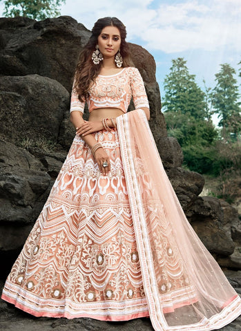 Opulence Peach Wedding Reception Lehenga Net SD058 - Siya Fashions