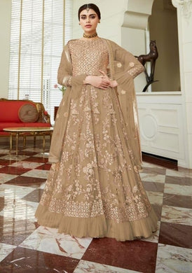 Opulent Wedding Beige Net Lehenga Kameez Suit SF24680
