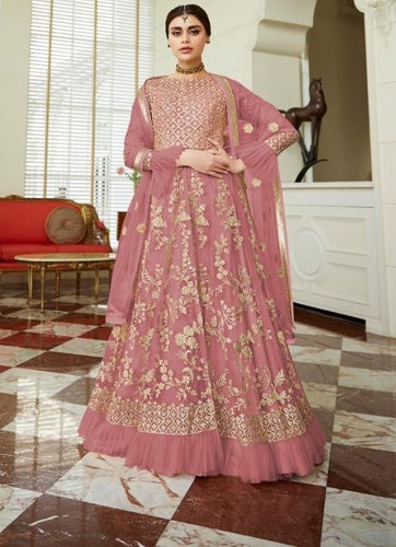Opulent Wedding Rose Pink Net Lehenga Kameez Suit SF24682 - Siya Fashions