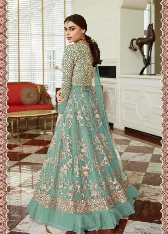 Opulent Wedding Turquoise Net Lehenga Kameez Suit SF24681
