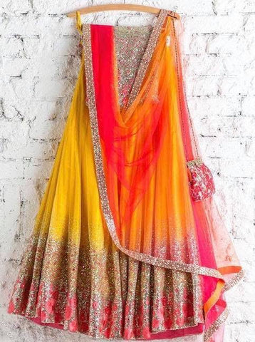 Orange Bridal Reception Lehenga Set In Net Heavy Handwork INS904