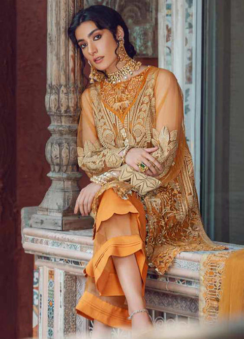 Orange Kinaar by Shiza Hassan Embroidered Poly Net Suit 3 Piece Suit - Zuri - Siya Fashions