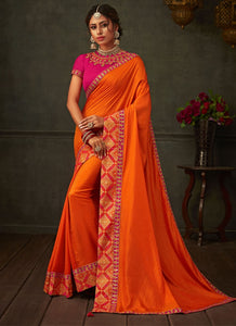 Orange Lush Designer Party Wear Saree In Silk SIYA1012YDS - Siya Fashions