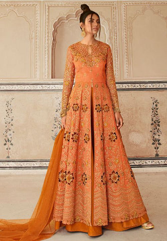 Orange Wedding Long Lehenga Set In Banglori Silk Work SIYA89