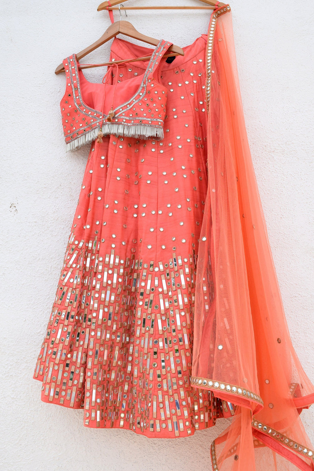 Orange Wedding Lehenga Online With Mirror Work SFIO93 - Siya Fashions
