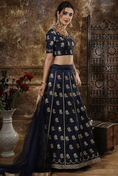 Party Silk Blue Lehenga Choli SF3354YD - Siya Fashions
