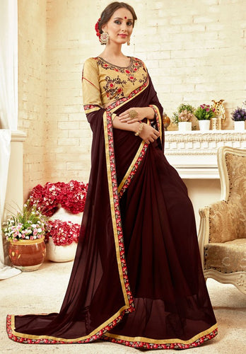 Partywear Brown Georgette Silk Saree SIYA1412 - Siya Fashions