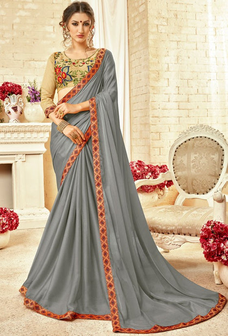 Partywear Grey Georgette Silk Saree SIYA1413 - Siya Fashions