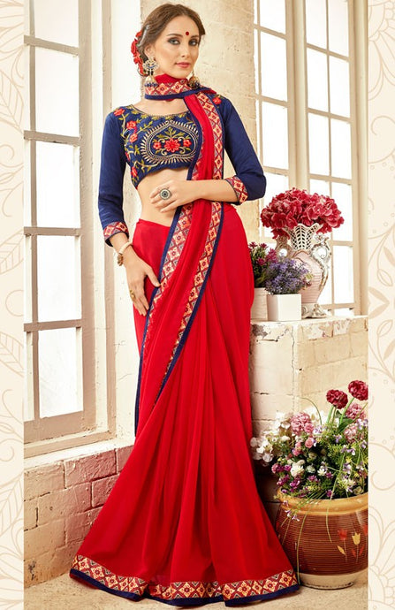 Partywear Hot Red Georgette Silk Saree SIYA1414 - Siya Fashions
