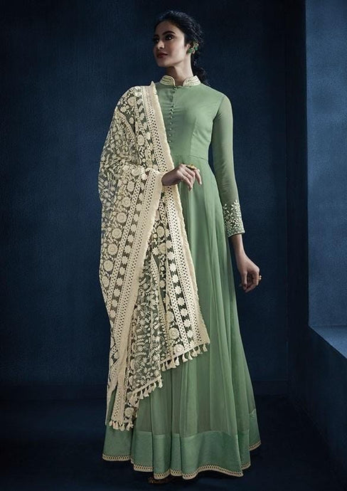 Partywear Mint Green Color Georgette Anarkali Suit SY2682 - Siya Fashions
