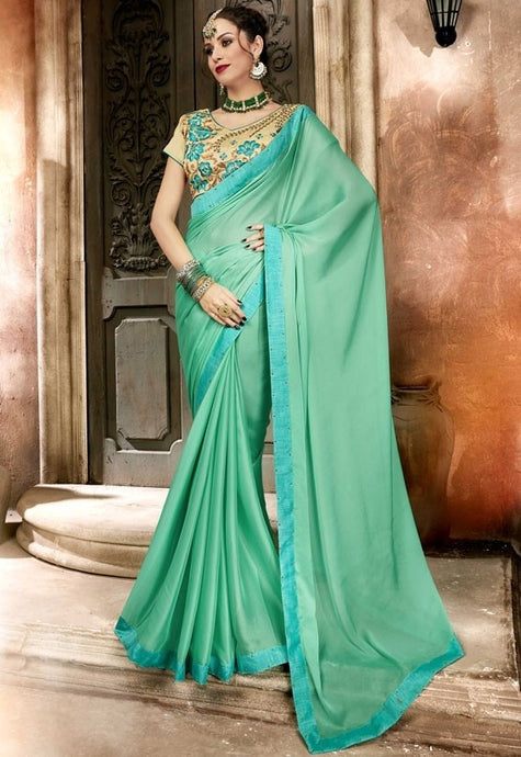 Partywear Mint Green Georgette Saree SIYA1219R - Siya Fashions