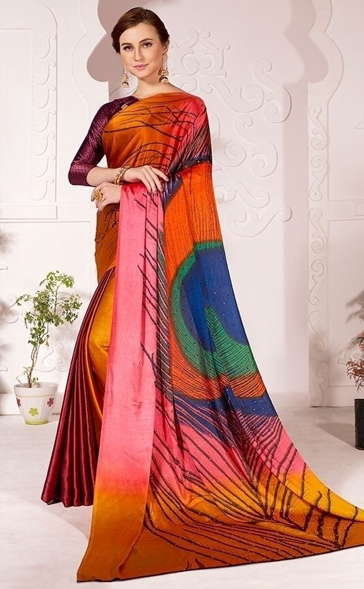 Partywear Saree Peacock Pallu Satin Silk In Multi SFPAR0021 - Siya Fashions