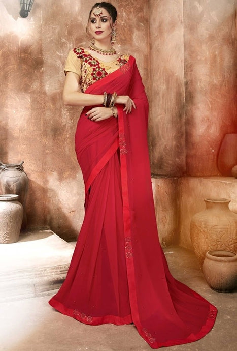 Partywear Red Georgette Casual Saree SIYA1215R - Siya Fashions