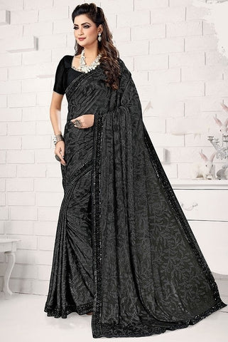 Partywear Saree In Black Lycra SIYA512YDS - Siya Fashions