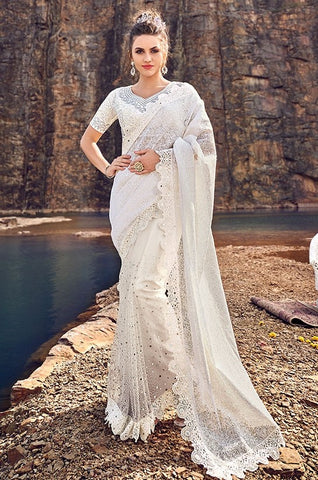 Partywear Saree In Net Crystals Mirror Work SFYDS3243 - Siya Fashions