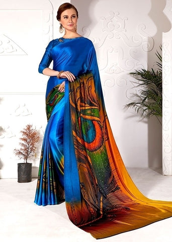Partywear Saree Peacock Blue In Satin Silk SFPAR0022 - Siya Fashions