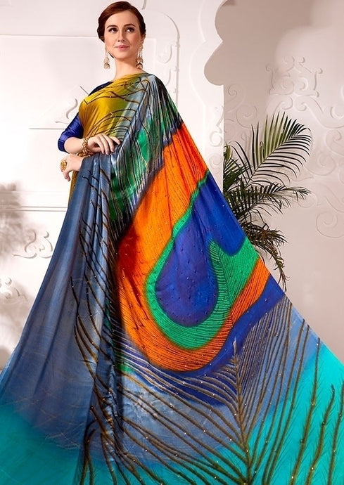 Partywear Saree Peacock Blue Satin Silk SFPAR0026 - Siya Fashions