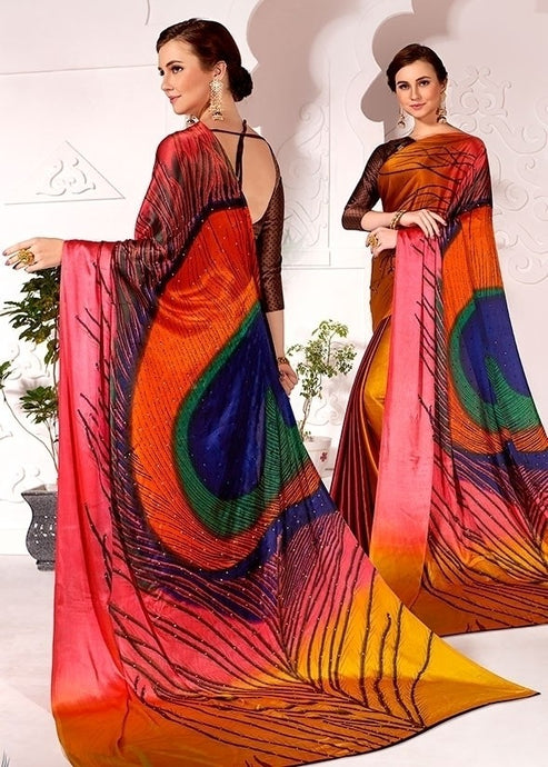 Partywear Saree Peacock Brown In Satin Silk SFPAR0023 - Siya Fashions