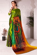 Load image into Gallery viewer, Partywear Saree Peacock Green In Satin Silk SFPAR0024 - Siya Fashions