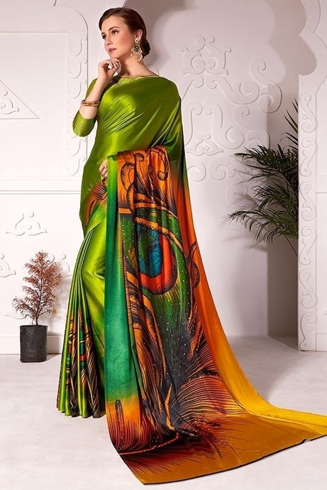 Partywear Saree Peacock Green In Satin Silk SFPAR0024 - Siya Fashions