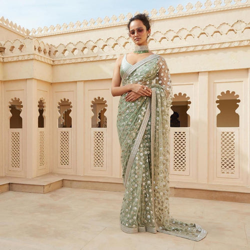 Partywear Turquoise Pure Organza Saree SF134HB