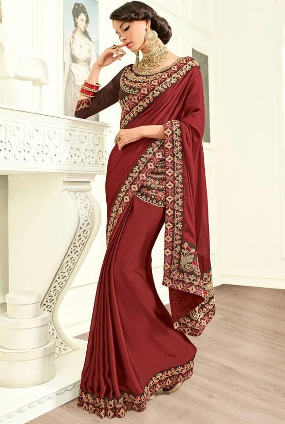 Partywear Wine Silk Saree Zari Work SIY217