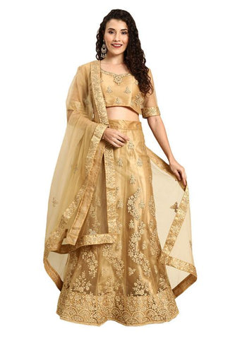 Pastel Beige Indian Reception Civil Partywear Lehenga Choli Set In Net SF94PRT - Siya Fashions