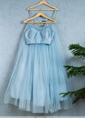 Pastel Blue Wedding Party Silk Layer Net Lehenga Set  INSPMAY428