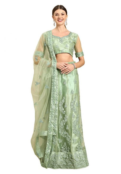 Pastel Green Indian Reception Civil Partywear Lehenga Choli Set In Net SF93PRT - Siya Fashions