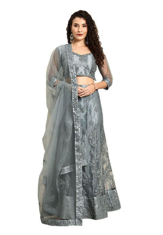 Pastel Grey Indian Reception Civil Partywear Lehenga Choli Set In Net SF94PRT - Siya Fashions