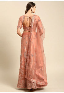 Pastel Peach Indian Reception Civil Partywear Lehenga Choli Set In Net SF93PRT