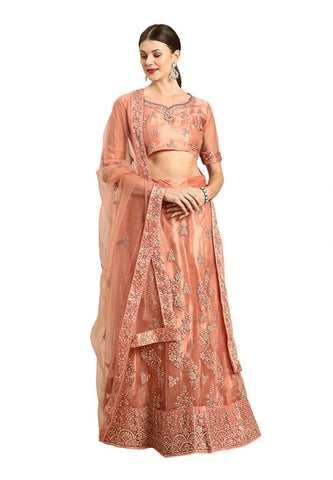 Pastel Peach Indian Reception Civil Partywear Lehenga Choli Set In Net SF93PRT - Siya Fashions
