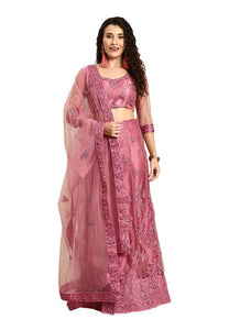 Pastel Pink Indian Reception Civil Partywear Lehenga Choli Set In Net SF93PRT - Siya Fashions