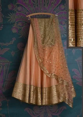 Peach Bridal Reception Lehenga Set In Net Heavy Handwork INS139 - Siya Fashions