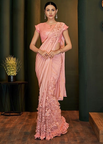 Peach Bridesmaid Designer Evening Lehenga Saree In Silk Georgette SIYA118YDS - Siya Fashions