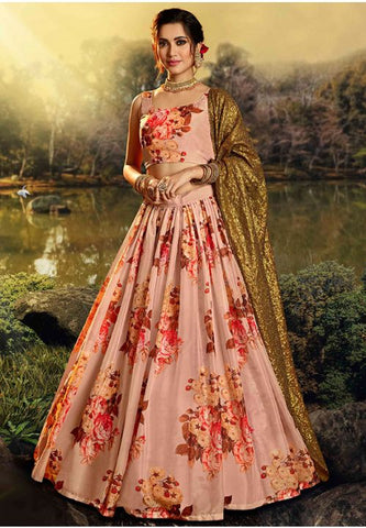 Designer Peach Colour Organza Fabric Lehenga Choli SFY3223D - Siya Fashions