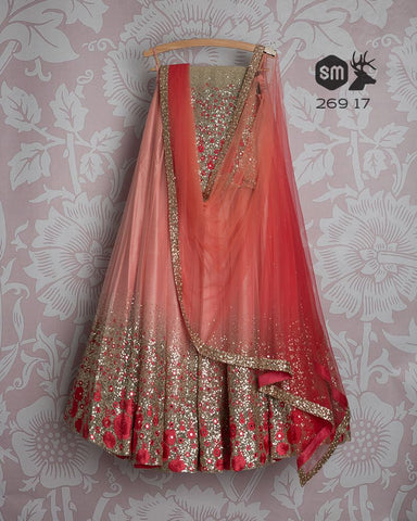 Peach Gold Bridal Handwork Net Silk Lehenga Choli  INS2290 - Siya Fashions