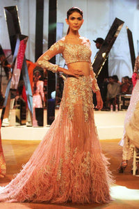Peach Fax Fur Cocktail Swarovski Work Lehenga Gown SFIN99021 - Siya Fashions