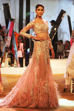 Load image into Gallery viewer, Peach Fax Fur Cocktail Swarovski Work Lehenga Gown SFIN99021 - Siya Fashions