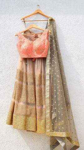 Peach Gold Lehenga Net Sequins SYINS212 - Siya Fashions