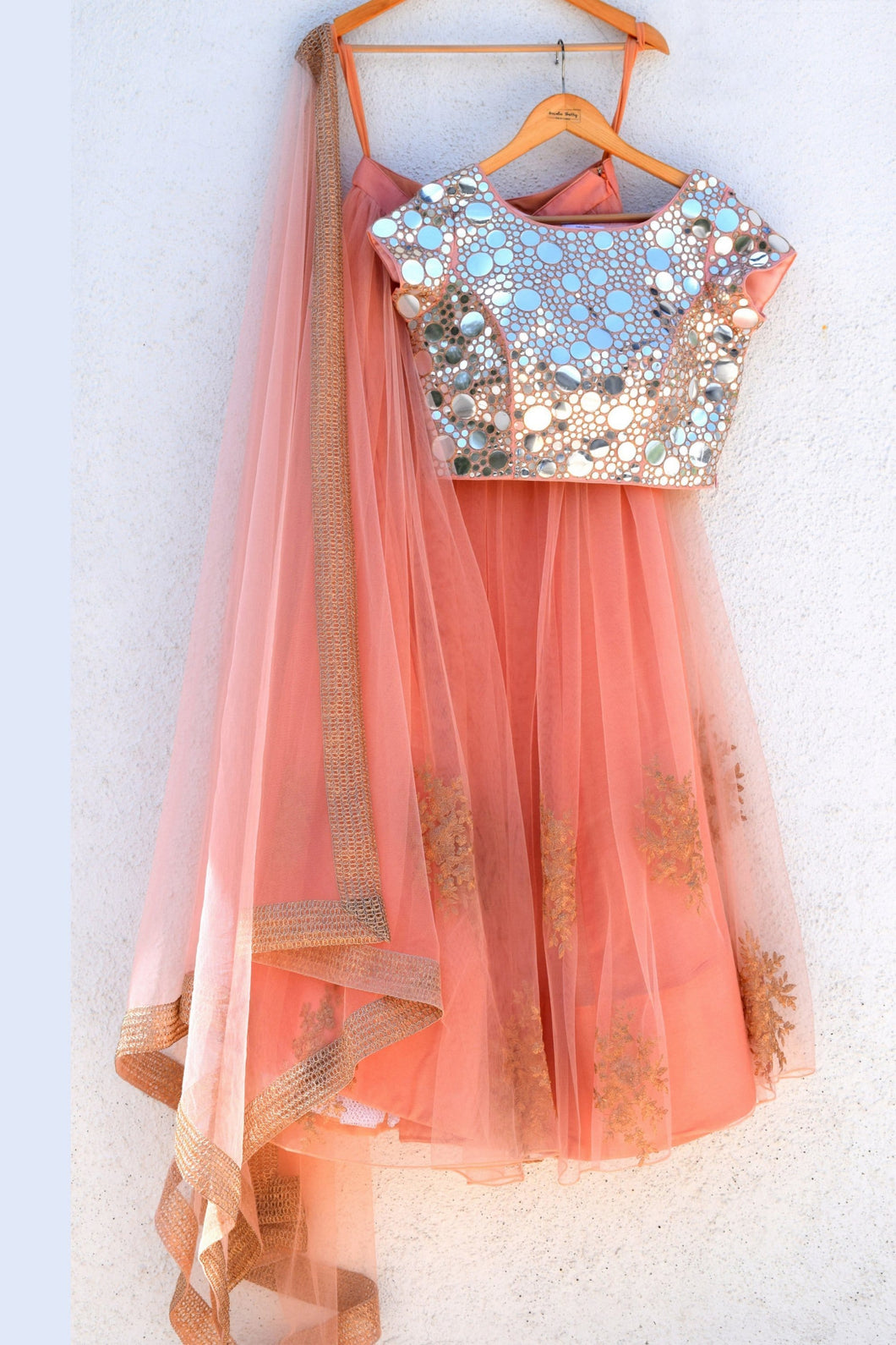 Peach Rose Lehenga With Silver Blouse SFAN3004 - Siya Fashions