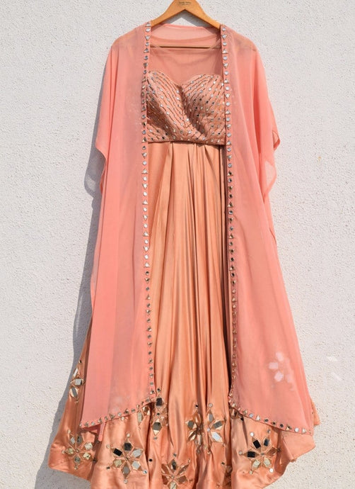 Peach Rose Satin Silk Lehenga Choli Online SF40023 - Siya Fashions