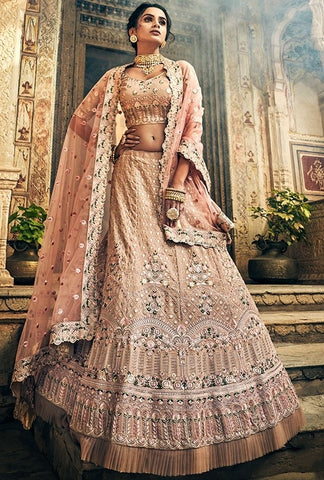 Peach Swarovski Bridal Lehenga In Georgette SF32BRI - Siya Fashions