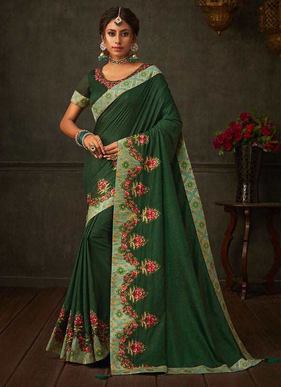 Peculiar Candy Green Designer Party Wear Saree In Silk SIYA2006YDS - Siya Fashions