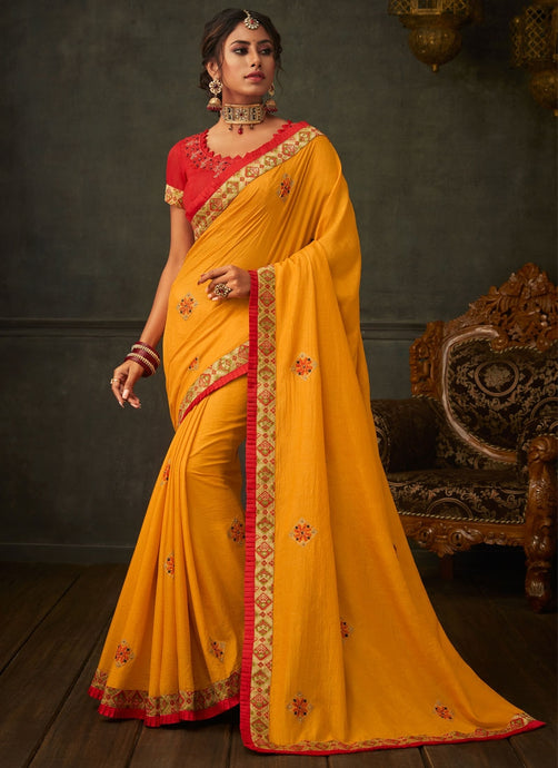 Peculiar Haldi Yellow Designer Party Wear Saree In Silk SIYA2005YDS - Siya Fashions