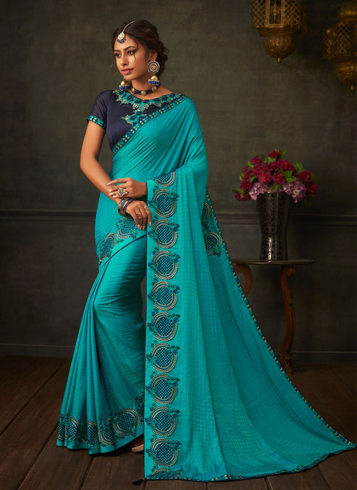 Peculiar Turquoise Designer Party Wear Saree In Silk SIYA2004YDS - Siya Fashions