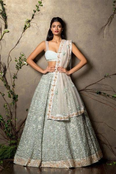 Perplexing Duck Egg Wedding Reception Lehenga In Net SFIN200 - Siya Fashions