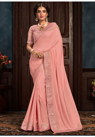 Pink Art Silk Saree Pastel Pink Raw Silk Blouse YD2160EX - Siya Fashions